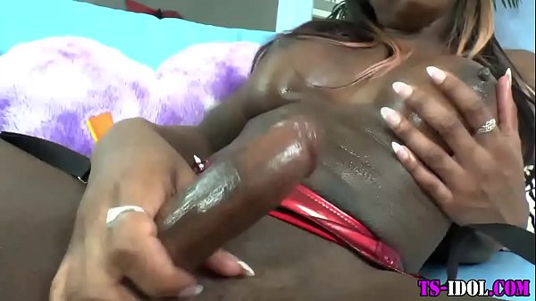 Black shemale toys ass and tugs